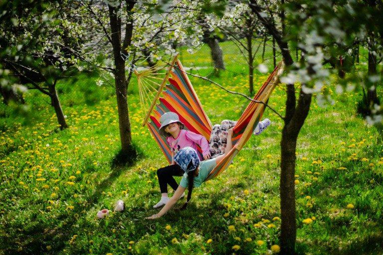 Domowe historie, rodzeństwo i wiosenne zdjęcia w sadzie